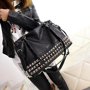 Punk Womens Rivets Studs Shoulderbags Gothic Message Motocycle Big Hand Bags