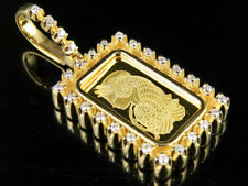 "Bar Real Diamond Charm Pendant 1.5"" 2/5Ct 24K Yellow Gold Lady Fortuna 1 Row"