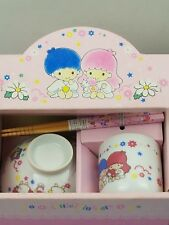 Vintage Sanrio Little Twin Stars Rice bowlTea Cup ChopSticks Set Fairy Kei style