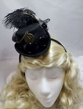 Mini Steampunk Hat with Goggles Gears & Lace on Headband Victorian Burlesque