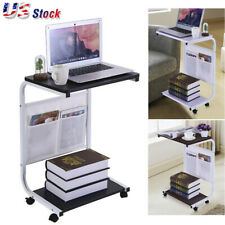 Laptop Rolling Desk Tilt Stand Portable Caster Cart Bed Side Table Notebook Desk