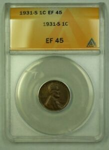 1931-S Lincoln Wheat Cent 1c ANACS EF-45 (U) (WW)