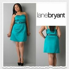 NWT Lane Bryant Satin Convertible Belted Dress Teal Women's Size 28 HW5784