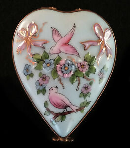 Valentines Day Limoges Box Heart Blue with Birds and Flowers Lot 1070