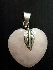 Sterling Silver Pink Rose quartz Love heart pendant Heart Chakra Healing crystal