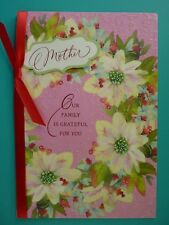 Christmas Greeting Card For Mother Embellished Front Glitter Unused Hallmark