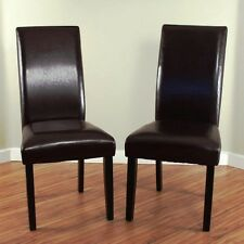 Brown Leather Dining Room Chairs (Set of 2) Parson High Back Chair Furniture NEW