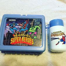 1990 Marvel Super Heroes Plastic Lunchbox with Thermos