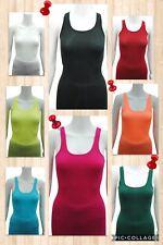 Ladies Woman girls figure bodycon cotton ribbed slim tank top vest xs~xl 6~14
