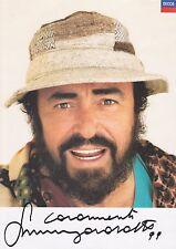 Luciano Pavarotti Hand Signed Photocard, Autograph, Three Tenors, Nessun Dorma