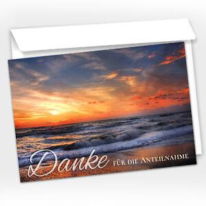 15 Trauer-Danksagungskarten Trauer-Karten mit Umschlag, Sonnenuntergang am Meer