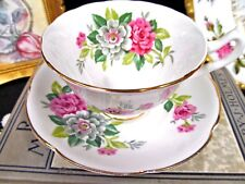 COLLINGWOODS TEA CUP AND SAUCER PINK FLORAL PATTERN TEACUP