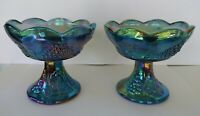 Vintage Blue Carnival Glass Candlestick Holders (2) by Indiana, Harvest Grape