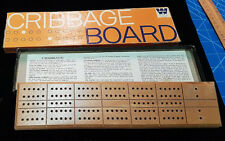 Vintage Whitman Wooden Cribbage Board. In Orig. Box with Instructions and Pegs.