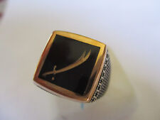 Gorgeous Style Islamic ring for men Silver & Bronze Black square shape size 10.5