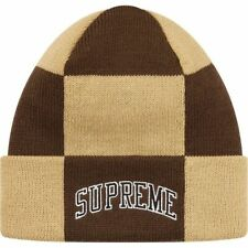 Supreme Checkerboard Beanie Tan FW19 New Era Box Logo Sold Out Week 17 Limited