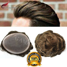 Fine Mono Poly Coat Men Toupee Human Hair System Hair piece Durable Wigs D7-3