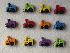 DRESS IT UP BUTTONS ~ SEW CUTE TRAINS ~ 12 COLOURFUL TRAINS RED, PURPLE, GREEN +