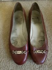 Gucci Womens Brown Leather Ballerina Flat Size 36.5 Round Toe