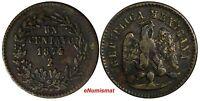 Mexico SECOND REPUBLIC Zacatecas 1874/3 ZS 1 Centavo OVERDATE KM# 391.9