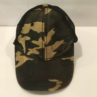 Vintage Snapback Camo Trucker Hat Mesh Back Side US Flag Patch Cap Camouflage