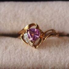 Purple Sapphire Ring 10k Yellow Gold Trilliant Trillion cut size 7
