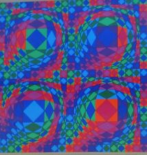 """VICTOR VASARELY  """"Quadrature X"""" HAND SIGNED LIMITED EDITION Framed Serigraph"""