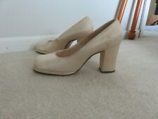 "Vintage Creme Satin shoes, chunky heal, .25"" platform"