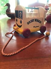 Playskool Dairy Wagon Vintage Pull Toy With 5 Milk Bottles Wooden