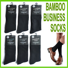 NEW 6 PAIR MENS BAMBOO BUSINESS SOCKS SIZE 6-11, 11-14 BLACK NAVYBLUE WHITE GREY