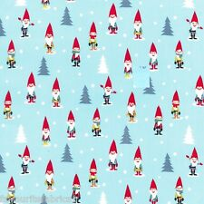 FQ - MANY MINI GNOMES - festive MICHAEL MILLER COTTON FABRIC CHRISTMAS XMAS