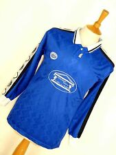 MENS VINTAGE RETRO FC WACKER SHINY BLUE LONG SLEEVE FOOTBALL SOCCER SHIRT TOP S