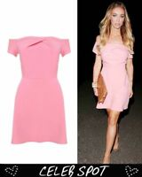 Love @ TopShop Pleated Bubblegum Pink Cold Shoulder Mini Dress Large 12-14 BNWT