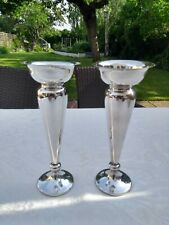 More details for vintage pair of silver plated vases with weighted bases