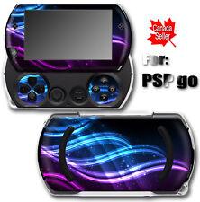 Neon Blue Purple Art SKIN STICKER COVER for SONY PSP Go