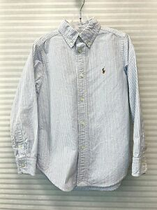 Ralph Lauren Boys Long Sleeve Button Down Striped Cotton Shirt Size 6 - EUC