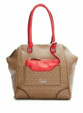 NEW GUESS BROWN CORAL RHEA LOGO SATCHEL HANDBAG BAG PURSE
