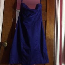 Stunning H&M Blue Bandeau strapless pencil fitted party 50s dress size EU 40