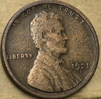 1921 -S. Very Fine Lincoln Cent Wheat Penny. Copper Lincoln Wheat Small Cent.