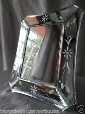 Desirable Italian Bow Shaped Mirrored Photo Picture Floral Silver Etched Frame