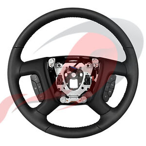 2007 2008 Silverado Tahoe Suburban Black Leather Steering Wheel 15917931