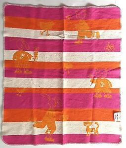 David Fussenegger Juwel Baby Blanket Flannel Receiving Orange Pink Bear Bunny