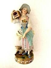 More details for meissen porcelain superb figure - female gardeners companion with sheep & bird