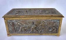 Antique German ERHARD & SOHNE Bronze Dore Casket/ Box,  Harvesting Scenes