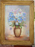 Agréable peinture florale à couleur dominante bleu - Beau cadre - 55 x 42 cm
