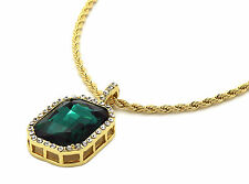 "Mens 14k Gold Plated Iced Out Green Cz Octagon Pendant Hip-Hop 24"" Rope Chain"