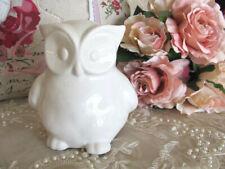 Ceramic Large White Glossy Owl Bird Ornament ~ Figurine ~ Home Decor