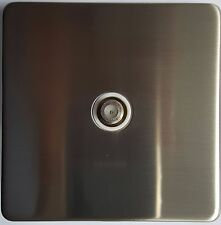Flat Plate Brushed Stainless Steel Screw less Satellite Socket