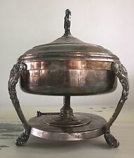 ANTIQUE CHAFING DISH - Silver w/  Vtg Alcohol/Oil Warmer Included.  MUST SEE!