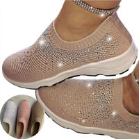 Sneakers Fashion Loafers Slip Running Casual On Flying Women Woven Sport Crystal